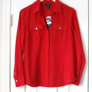 NWT White House Black Market red silk dress shirt